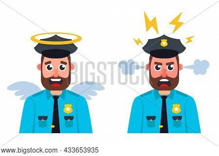 Bad Good Cop On A White Background. Flat Character Vector Illustration.