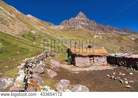 Small Home Building In Vilcanota Mountains Or Ausangate Mountains, Peruvian Andes Near Cusco Or Cuzc