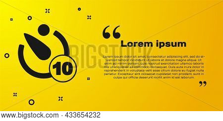 Black Camera Timer Icon Isolated On Yellow Background. Photo Exposure. Stopwatch Timer 10 Seconds. V