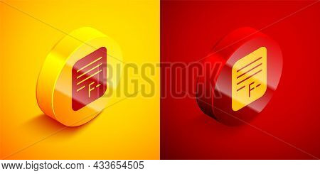 Isometric Exam Paper With Incorrect Answers Survey Icon Isolated On Orange And Red Background. Bad M