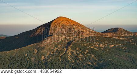 Aerial View Of Mountain Hills, Carpathian Mountains Landscape.