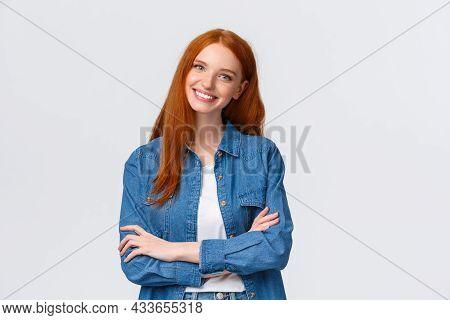 Professionalism, Teamwork Concept. Waist-up Shot Alluring Pleasant Redhead Teenage, College Student,