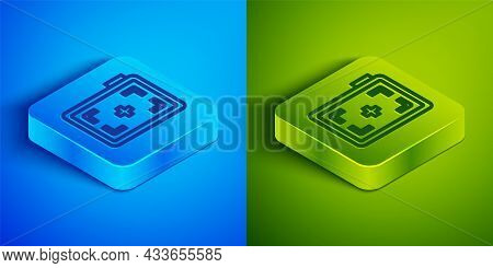 Isometric Line Photo Camera Icon Isolated On Blue And Green Background. Foto Camera. Digital Photogr