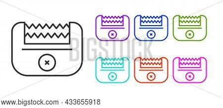 Black Line Electrical Hair Clipper Or Shaver Icon Isolated On White Background. Barbershop Symbol. S