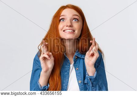Excited And Hopeful, Optimistic Cute Redhead Girl Want Dream Come True, Desire Something, Aspire Ach