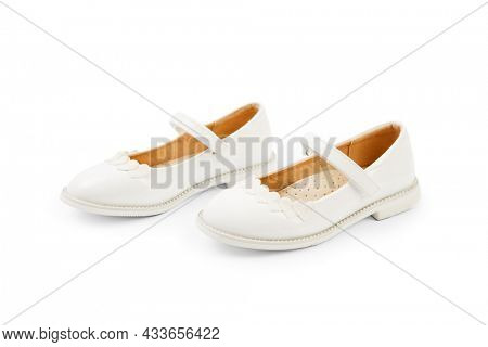 white girl baby shoes isolated on white background
