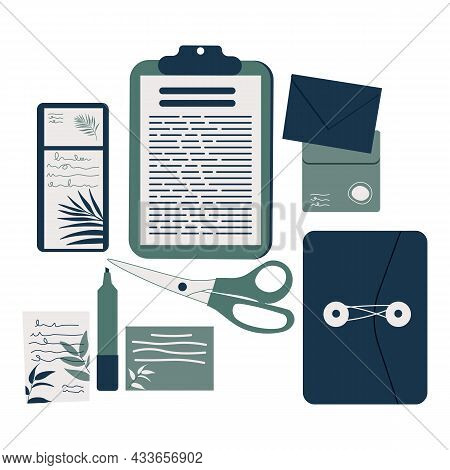 Notes And Paper Stationery For Memos Writing And Reminders Tiny Persons Set. Object Collection For O