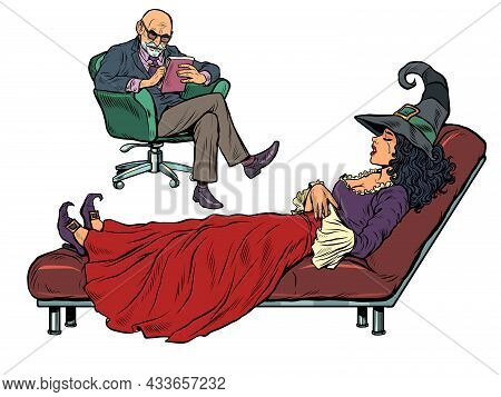 Halloween Witch At A Psychotherapy Session, A Psychologist Doctor Listens To A Fairytale Character.