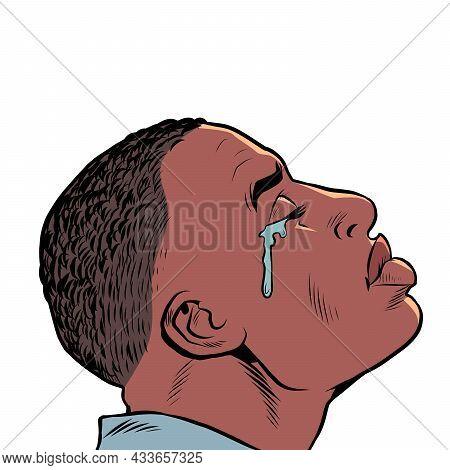 A Crying Black African American Man, Sad Mood, Sadness. Human Emotions