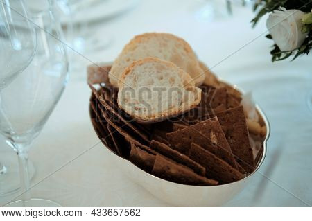 Crackers. Snack Plate On Table Close Up Image