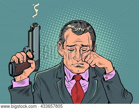 A Man With A Gun Is Crying. A Spy Is An Agent With Emotions. The Weapon Smokes After The Shot