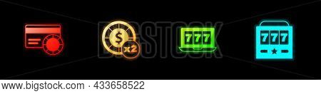 Set Credit Card, Casino Chips, Online Slot Machine With Jackpot And Slot Icon. Vector