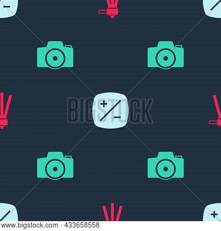 Set Tripod, Exposure Compensation And Photo Camera On Seamless Pattern. Vector