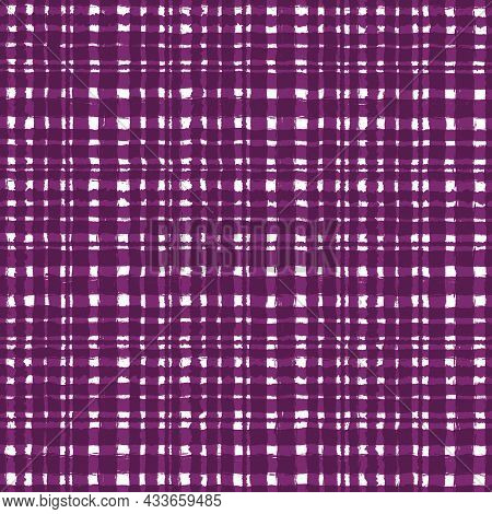 Burgundy Purple Checkered Old Vintage Background With Blur, Gradient And Grunge Texture. Classic Che