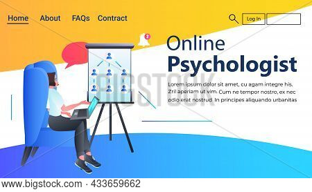 Psychologist With Laptop Solving Psychological Problem Online Consultation Psychotherapy Session