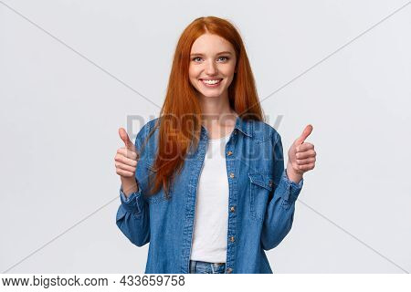 Waist-up Portrait Alluring Confident Smiling Redhead Female Blogger Review Awesome New Product, Show