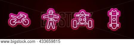Set Line Motorcycle, Bungee Jumping, Atv Motorcycle And Longboard Skateboard. Glowing Neon Icon. Vec