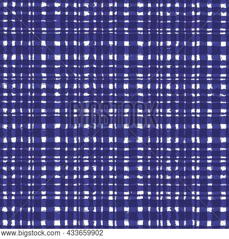 Purple White Blue Checkered Old Vintage Background With Blur, Gradient And Grunge Texture. Classic C