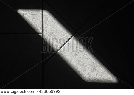 Abstract Interior Design Photo, Sunbeam Is On Dark Floor Tiling, Top View