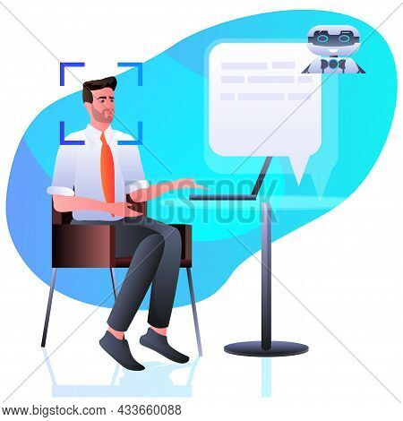 Man Discussing With Chatbot Assistant Detection And Identification Facial Recognition System Artific