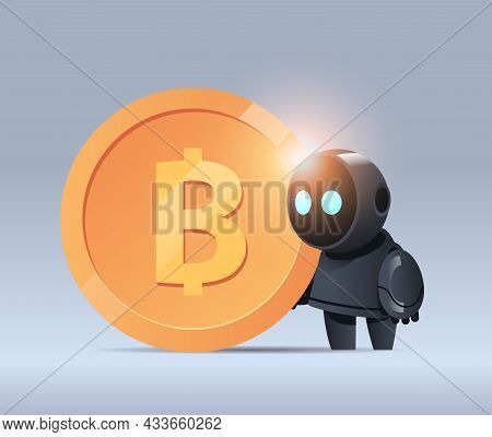 Black Robot Holding Bitcoin Crypto Currency Web Money Mining Passive Income Earnings Artificial Inte