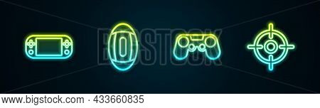 Set Line Portable Video Game Console, American Football Ball, Gamepad And Target Sport. Glowing Neon