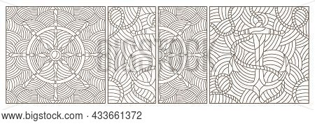 A Set Of Contour Illustrations In The Style Of Stained Glass On A Marine Theme, Anchor And Steering
