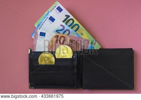 Black Leather Wallet With Euro Currency And Bitcoin Btc Crypto Gold Coins, New Virtual Money Concept