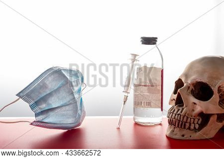 Medicines And A Human Skull. Medicines And Syringe. Medicines And Face Shield.