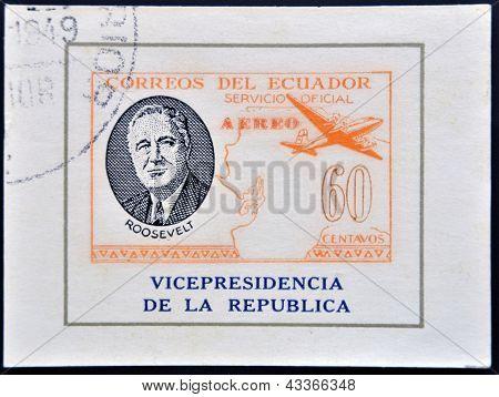 ECUADOR - CIRCA 1949: A stamp printed in Ecuador shows plane and President Roosevelt circa 1949
