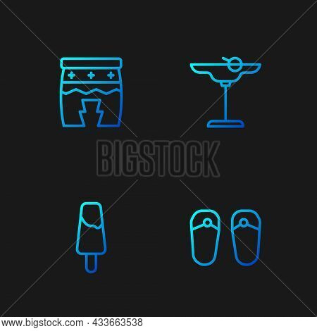 Set Line Flip Flops, Popsicle Ice Cream, Huehuetl And Margarita Cocktail. Gradient Color Icons. Vect