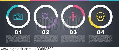 Set Line Photo Camera, Magnifying Glass, Road Traffic Signpost And Human Skull. Business Infographic