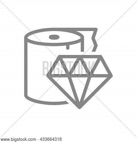 Paper Towels And Diamond Line Icon. Paper Roll, Napkins, Excellent Quality Symbol