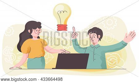 Discussion Of A Business Idea. Illustration Of A Business Concept. A Scene In An Office With A Man A