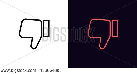 Outline Thumb Down Icon, With Editable Stroke. Linear Dislike Sign, Disapprove Pictogram. Social Med