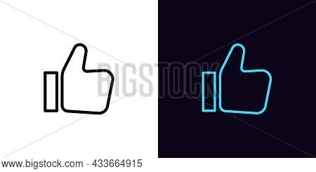 Outline Thumb Up Icon, With Editable Stroke. Linear Like Sign, Approve Pictogram. Social Media Feedb