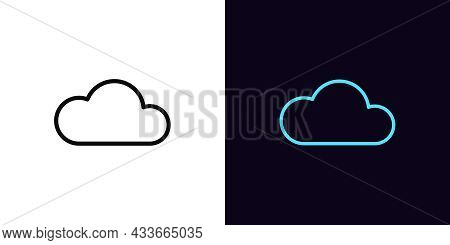 Outline Cloud Icon, With Editable Stroke. Linear Cloud Sign, Technology Pictogram. Online Data Stora