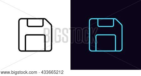 Outline Floppy Disk Icon, With Editable Stroke. Linear Diskette Sign, Memory Pictogram. Online Data