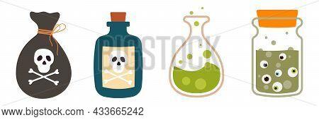 Cartoon Halloween Bottles With Poison Vector Set