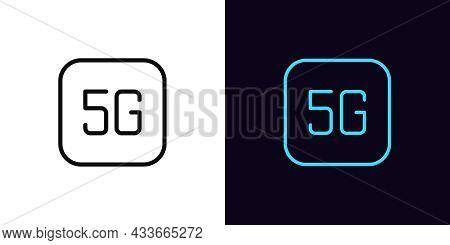 Outline 5g Network Icon, With Editable Stroke. Linear 5g Sign, Mobile Internet Pictogram. 5 Generati