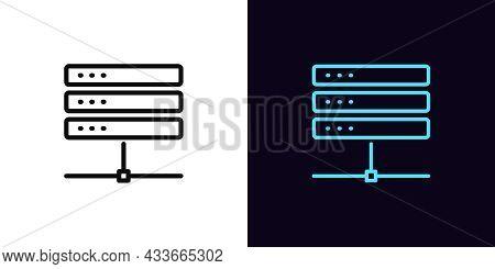 Outline Server Icon, With Editable Stroke. Linear Database Sign, Datacenter Pictogram. Cloud Server,