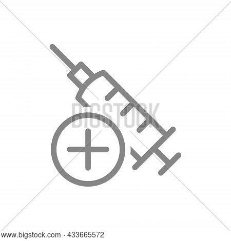Medical Syringe And Plus Line Icon. New Sterile Syringe, Injection, Medical Instrument, Successful V