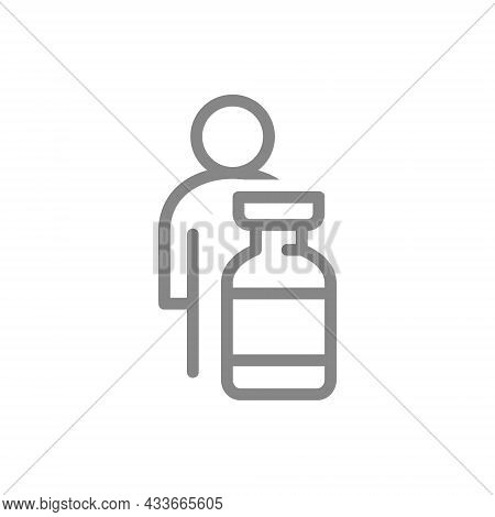 Medical Ampoule And People Line Icon. Vaccination Of The Population, Immunization, Collective Immuni