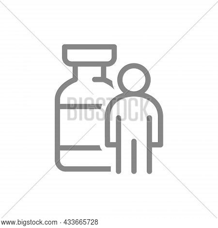 Medical Ampoule And People Line Icon. Serum, Vaccine, Vaccination Of The Population, Immunization, C