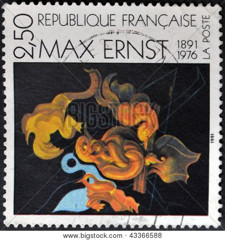 A stamp printed in France shows the work