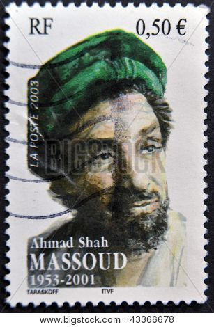 : A stamp printed in France shows ahmad shah massoud