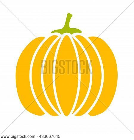 Pumpkin A Flat Vector Color Logo Icon For Websites, Halloween Or Thanksgiving Holiday