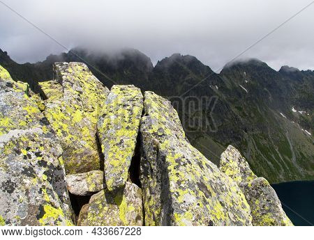 Stone With Lichens, Vysoke Tatry Or High Tatras Mountains, Carpathia, Slovakia