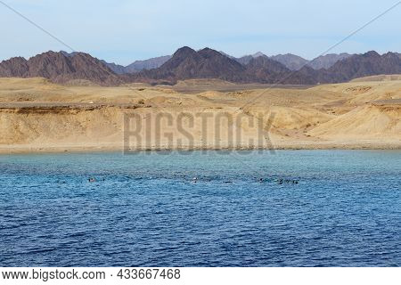 Snorkeling Tourists In Ras Muhammad National Park, Sharm El Sheikh, Egypt