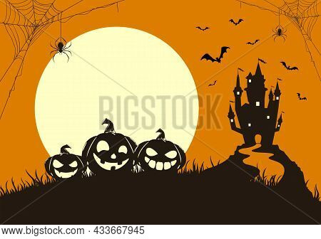 Silhouette Of Happy Pumpkins On Orange Background With Moon And Dark Scary Castle. Holiday Card With